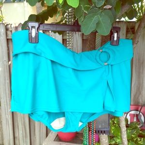 Turquoise bathing suit bottom with skirt